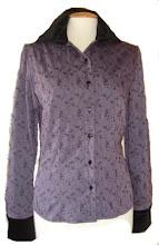 Camisa poelin bordado lila y terciopelo