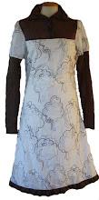 Vestido algodon bordado y angorina marrón