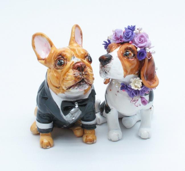 French Bulldog And Beagle Wedding Cake Topper
