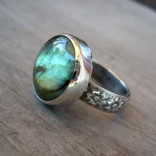 floral labradorite ring