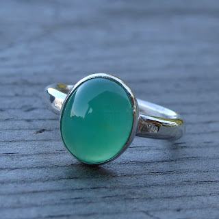 chrysoprase silver ring