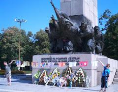 Flags at war memorial in Vidin, Bulgaria