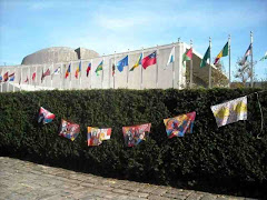 Belfast Flags of Hope flying outside The United Nations Building, 1st Avenue in New York City.  200