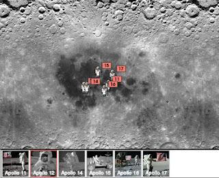 Ubicación de los alunizajes de las misiones Apolo