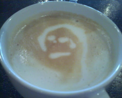 tearful face in coffee, Cottonwood Coffee, Brookings, SD