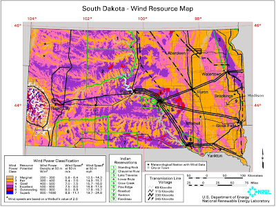 U.S. Department of Energy wind resource map of South Dakota