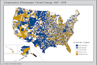 U.S. Map: Growth in Compensation, 2007-2008, by County