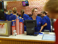 Crowded behind the DQ counter