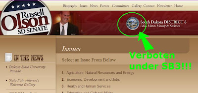 screen cap of Russell Olson's campaign website, showing political use of state seal