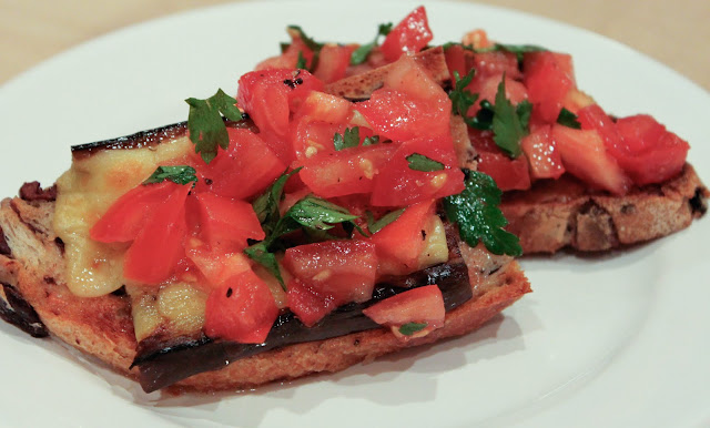 kitchenfervor: Grilled Eggplant Open-Faced Sandwich with Smoked Gouda
