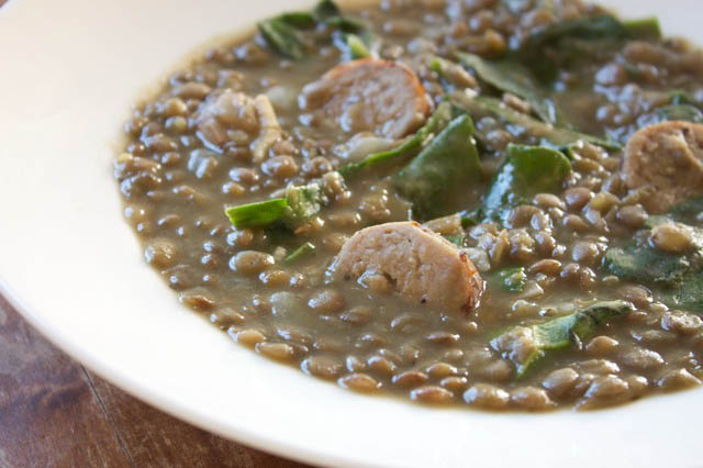 lentil soup with sausage chard and garlic recipes dishmaps lentil soup ...