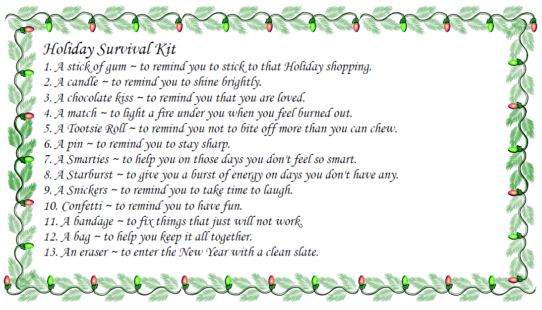 Christmas Survival Kit Poem