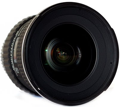 Tokina 11-16mm F2.8 AT-X 116 PRO DX Lens With Hood BH-77A Laying-down Front View