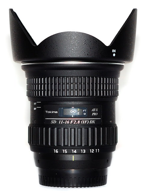 Tokina 11-16mm F2.8 AT-X 116 PRO DX Lens With Hood Vertical Front View