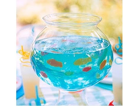 Fish Bowl Gelatin: Fills a 2 1/2-quart fish or glass bowl