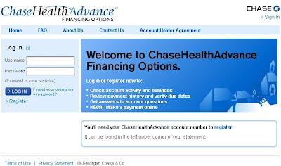 Login to Pay Chase Health Advance bill at MyChaseHealthAdvance.com