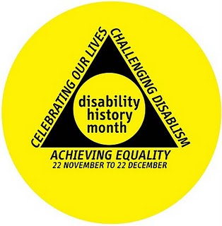 UK Disability History Month logo, yellow circle with black triangle