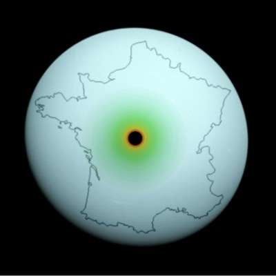 Image of the planet Uranus, outline of France, and a black hole, superimposed