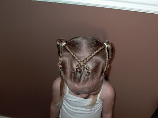 Little Girl's Hairstyles -Criss Cross Braid with Fishtail Braid