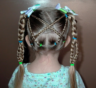 Little Girl's Hairstyles -The Criss Cross Braid with Braid Handles