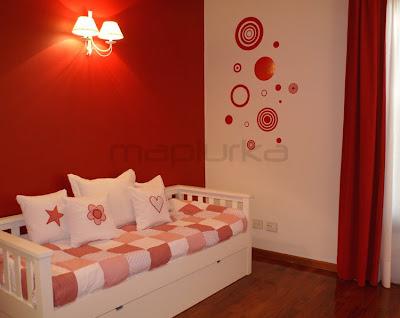 Mapiurka adhesivos decorativos ba dormitorio al rojo - Decoracion en pintura para dormitorios ...