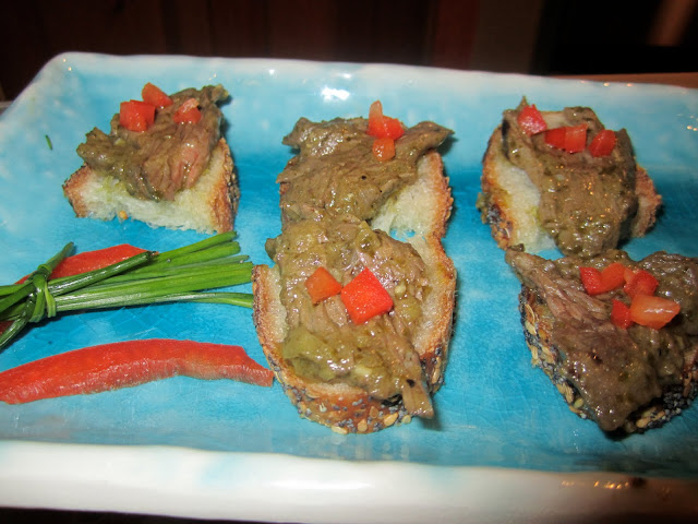 Tequila Marinated Hanger Steak Slice on Ficelle with Chile-Cilantro ...
