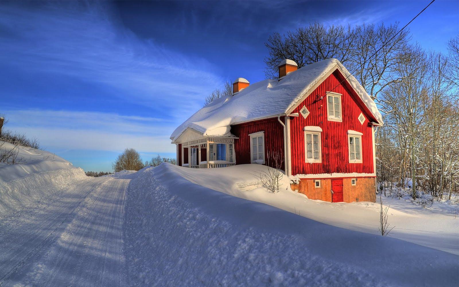 Casa entre la nieve. Paisajes con Nieve