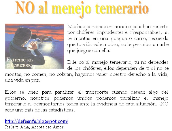 CAMPAA CONTRA EL MANEJO TEMERARIO