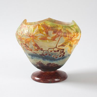 Nouveau Art Glass Vase Hand Painted by Rueven