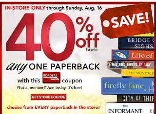 3 Borders 40% Off Any Paperback Coupon