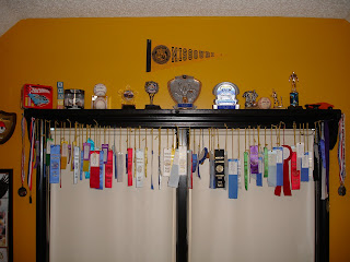 We Hung Medals On The Ends Of Shelf Plaques Wall And Put Trophies To Make A Complete Award Display