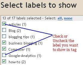 tag clouds blogger with lebels-Guide