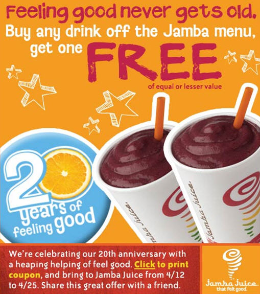 picture about Jamba Juice Printable Coupon known as Jamba juice 2 for 1 coupon - Breakfast fullerton ca