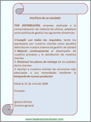Ejemplo política de calidad ISO 9001