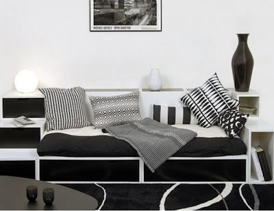 black and white design contemporary living room