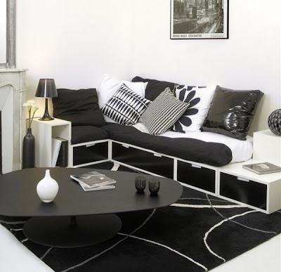 White and black decorating for home interior design can create a stunning