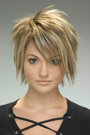 The choppy ends and the wispy bangs create a hot new look.