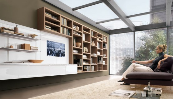 Future house design modern living room wall units for for Modern living room shelving units