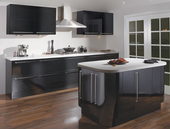 Ultra modern contemporary black gloss kitchen design for Black gloss kitchen ideas