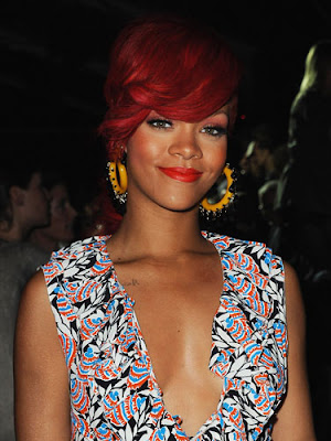 rihanna red hair curly hair. rihanna hairstyles red hair.