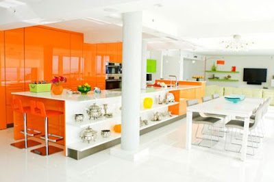 Interior Design Orange Color Kitchen Design Ideas