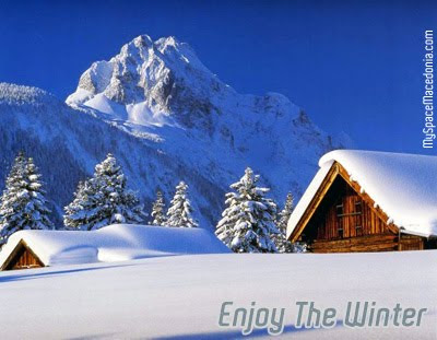 Enjoy the Winter: Mountain, Snow, Huts (white, blue, brown, fir, pine, trees, mountain peak)
