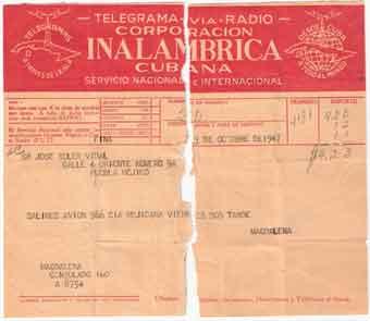 """Telegrama d""""avís de sortida vol desde l""""Habana a Mèxic D.F."""
