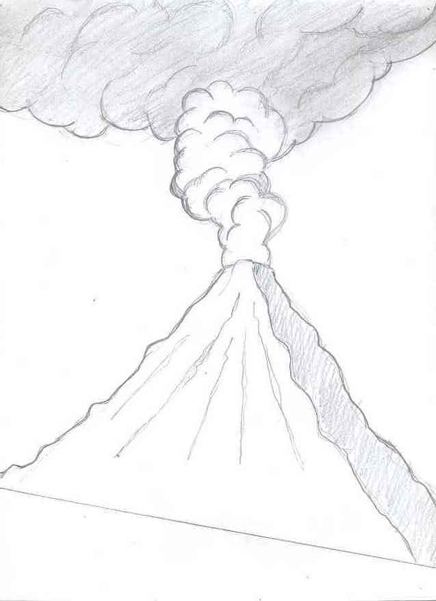 how to draw a volcano easy