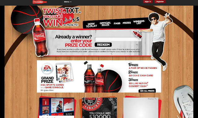 Mycoke.com/utc - Coca-Cola 2010 Twist Txt Win Instant Win Game