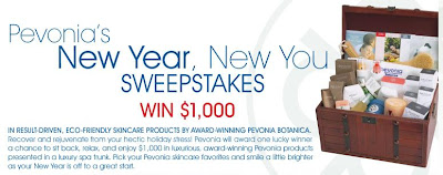Pevonia.com new year Giveaways, Pevonia New You Sweepstakes
