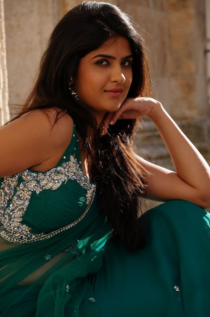 dActress Deeksha Seth in Hot Spicy Green Saree Wallpapers