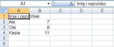Excel Tekst Się nie mieści