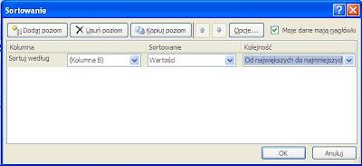 Excel sortowanie