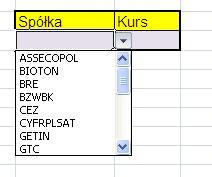 Lista wyboru w Excelu